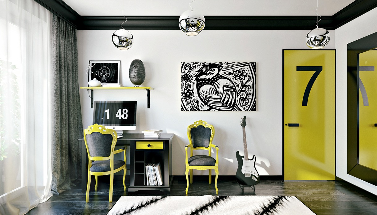yellow accent for teen room decor