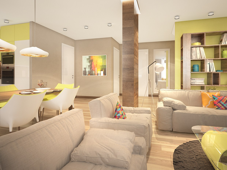 wooden living room interior design
