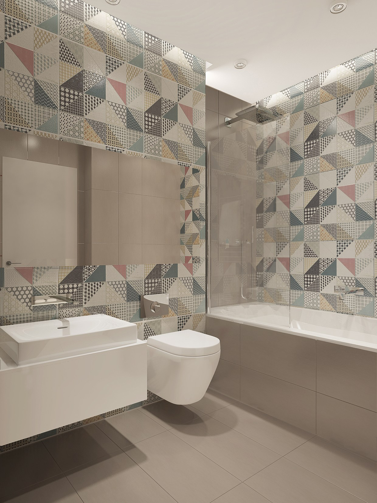 trendy bathroom backsplash