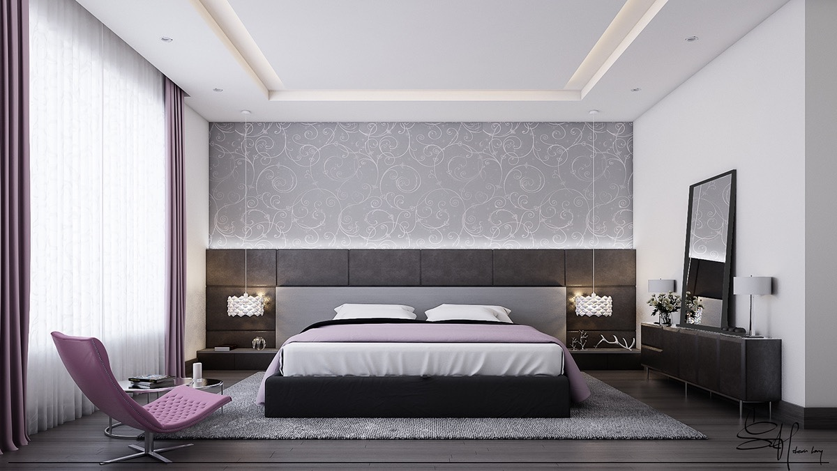 White Bedroom Designs With Variety of Cute Wall Texture ...