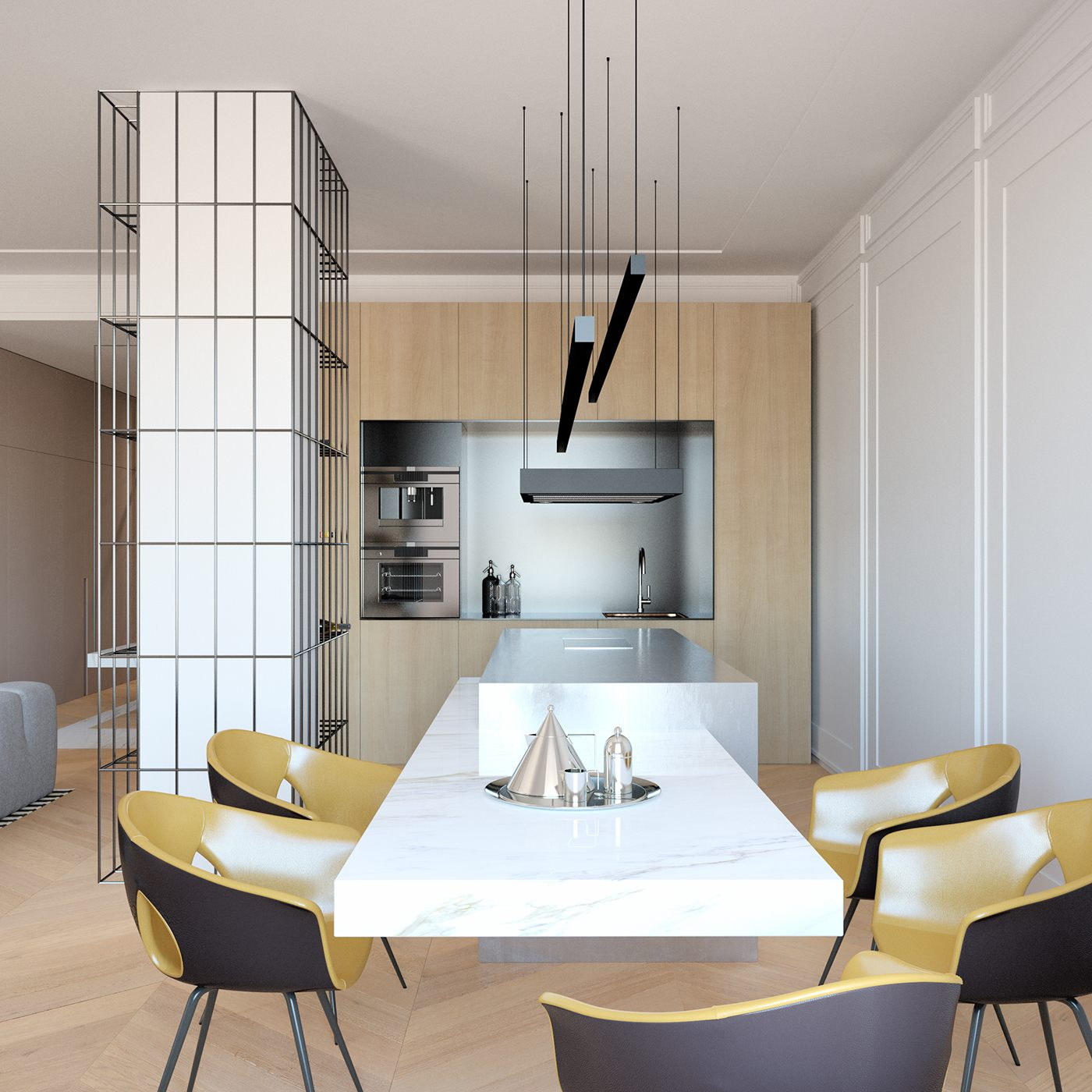 minimalist dining and kitchen