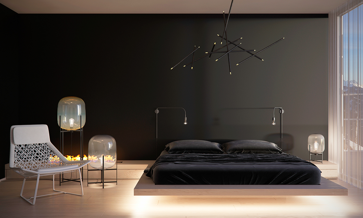 Bedroom Plain Wall Minimalist Concept To Create Minimalist Bedroom Decorating Ideas With Dark Color Concept