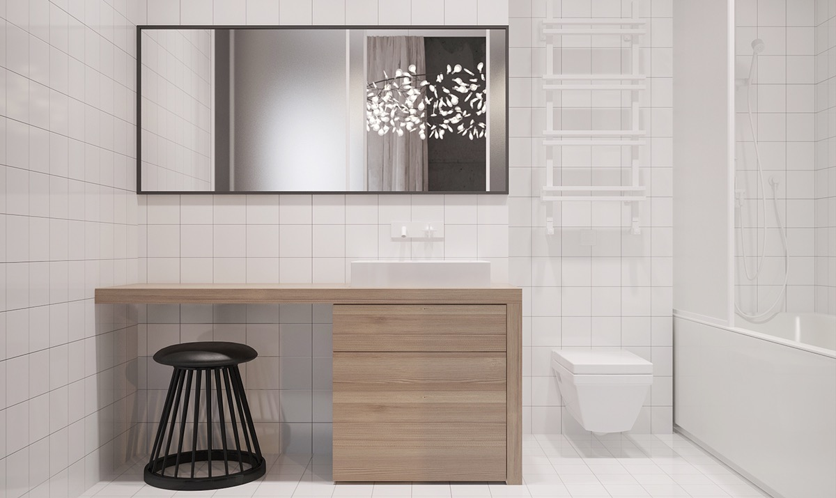minimalist bathroom using soft color