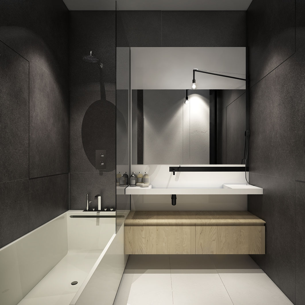 small minimalist dark bathroom