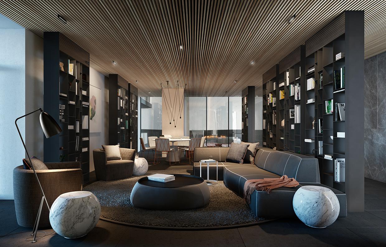 gray modern living room design