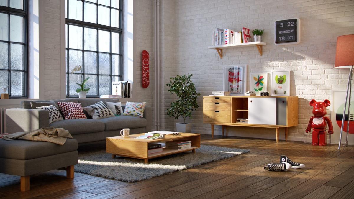 scandinavian living room exposed brick wall