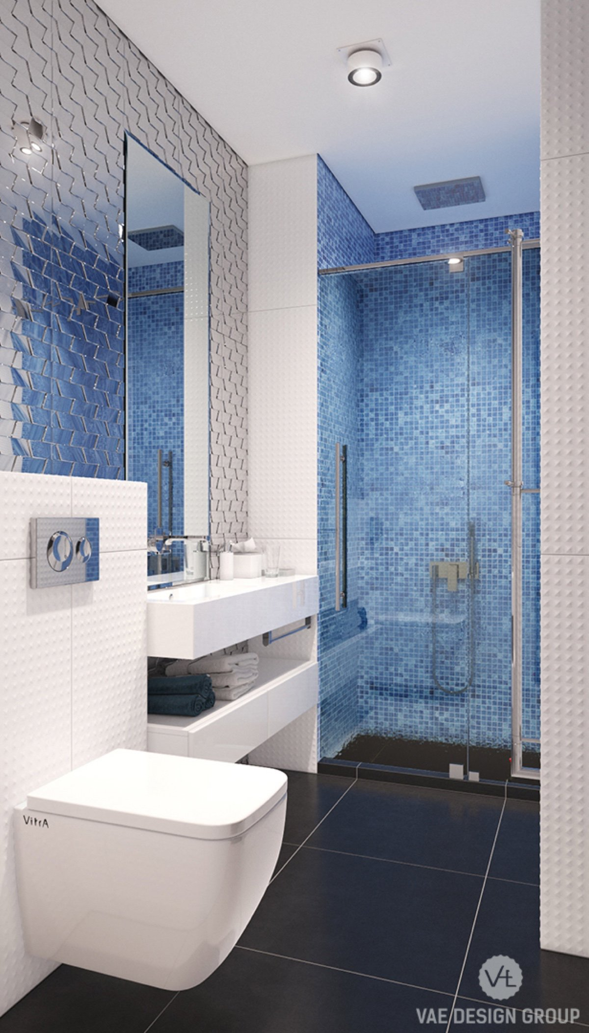 VAE Design Group blue backsplash bathroom