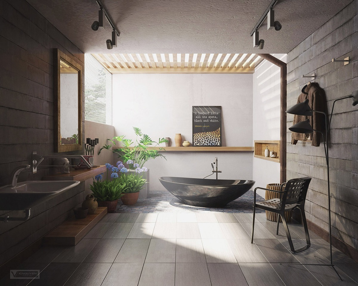 bathroom design with natural decor