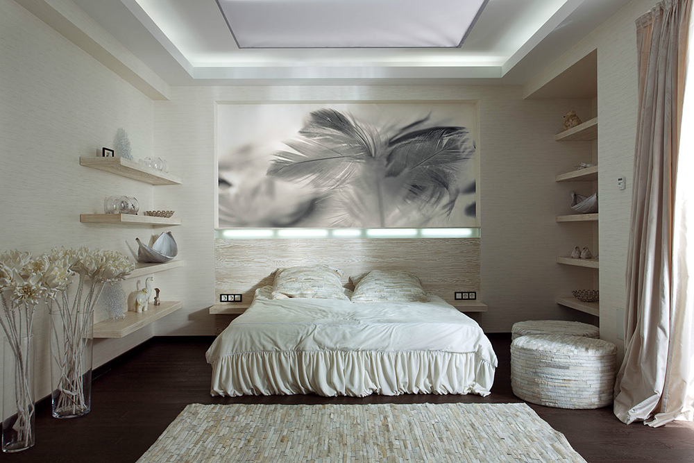 Modern bedroom designs combined with minimalist decor for Modern feminine bedroom designs