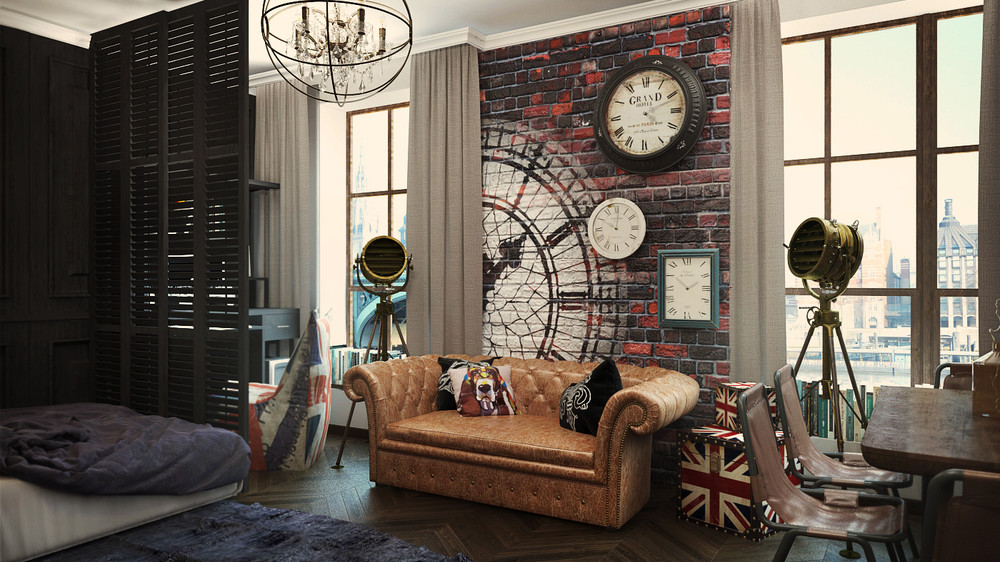 Merveilleux Great Open Plan Small Apartment Design Exposed Brick Wall And Classical  Part 16