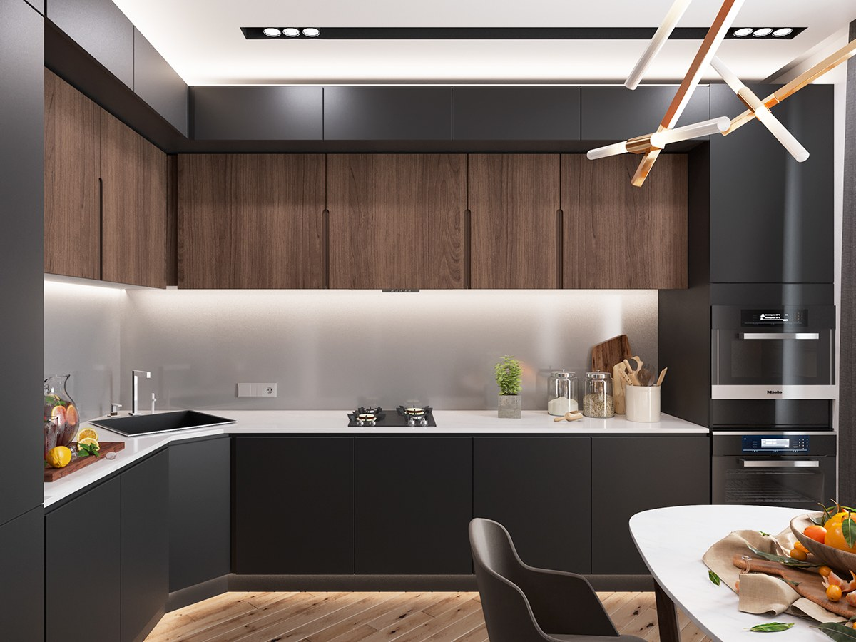 Minimalist Kitchen Designs Decorated With A Wooden Accent And Gray Color Combination Roohome