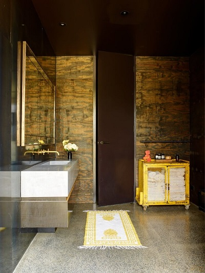 Modern wooden bathroom interior design