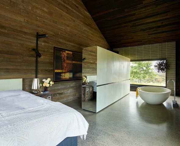 Modern wooden bedroom interior design