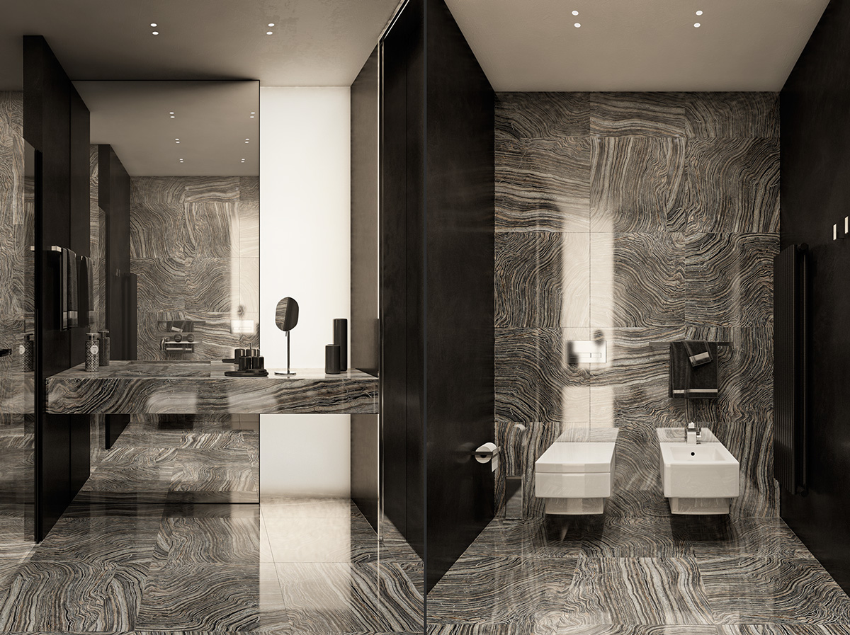 gorgeous dark bathroom design