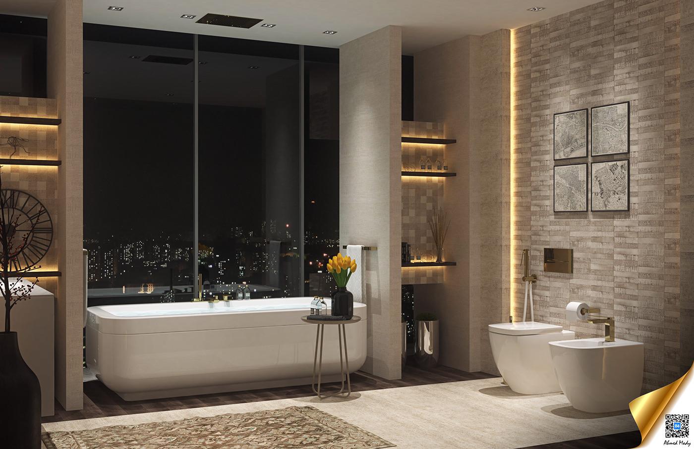modern bathroom decorating ideas combined with backsplash design