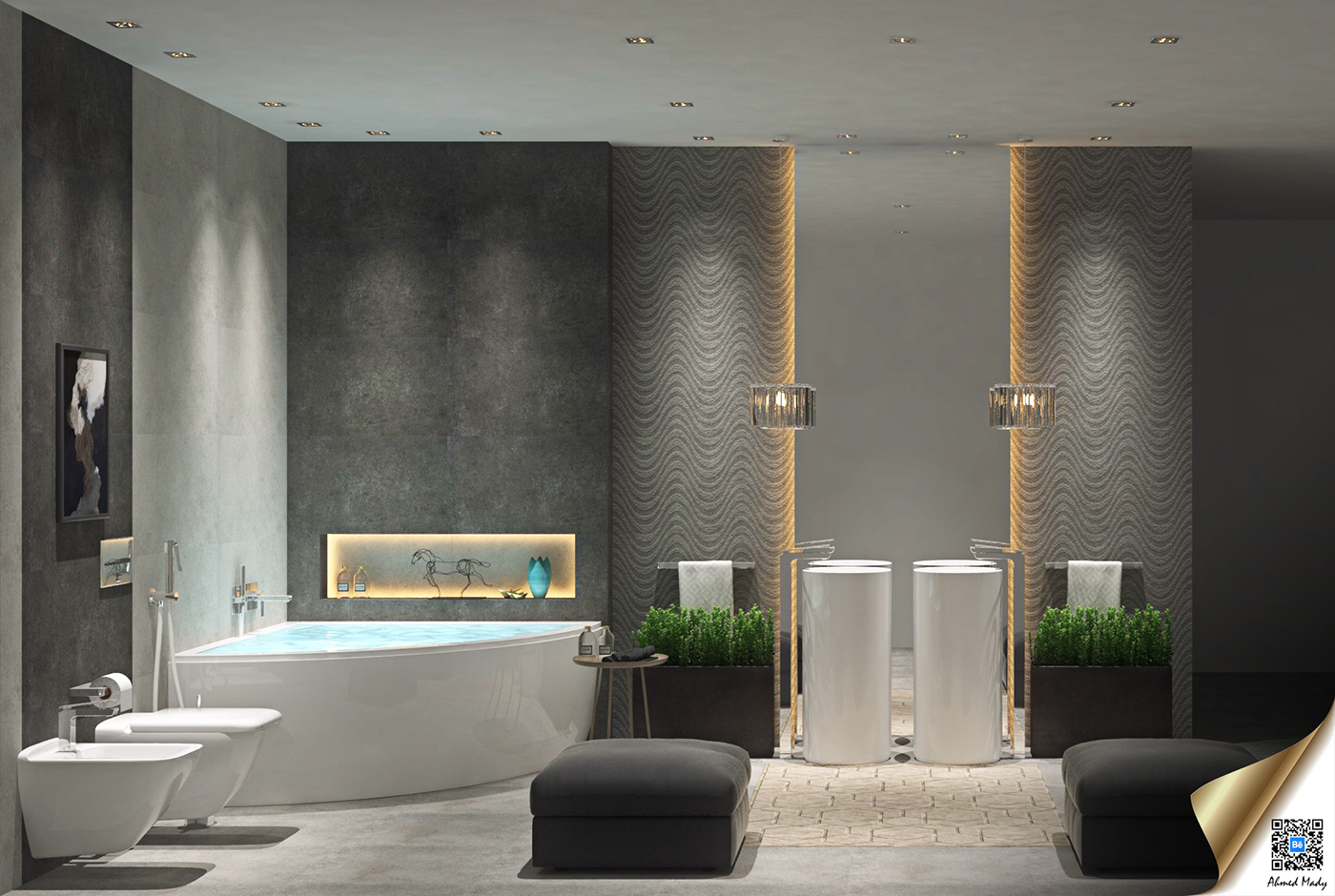 gray luxury bathroom decor
