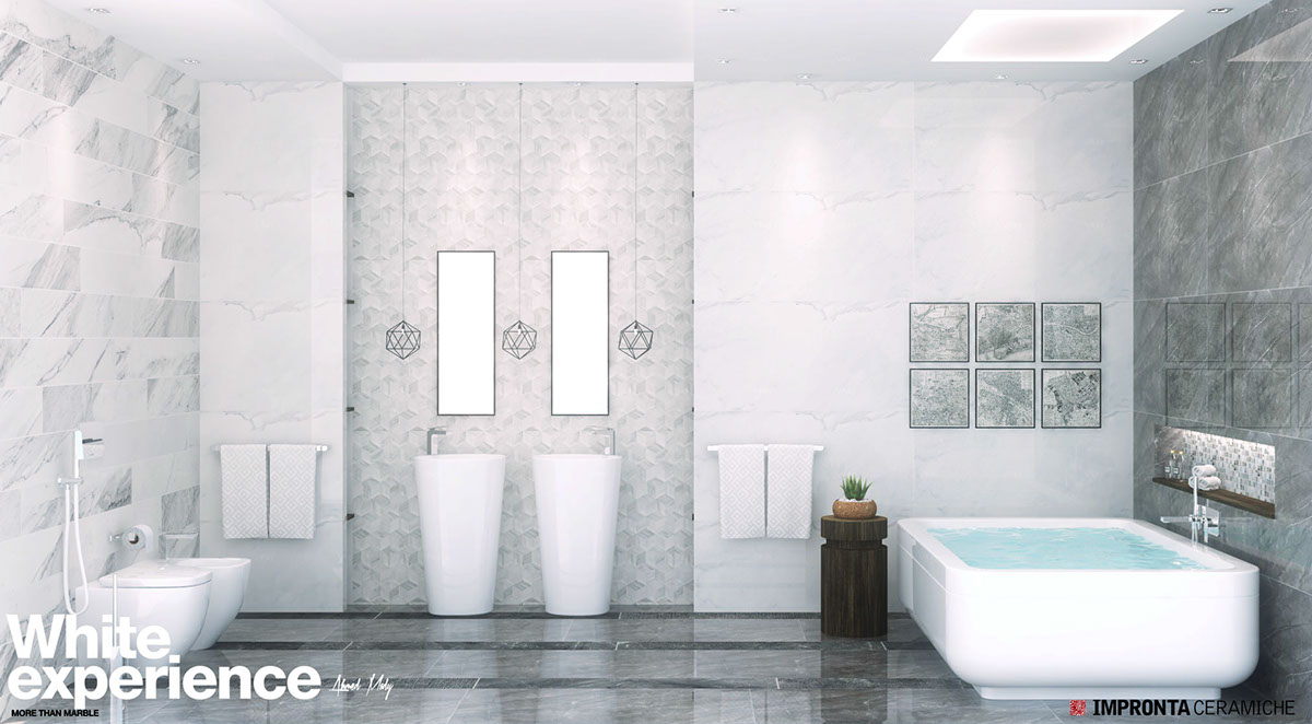white luxury bathroom design