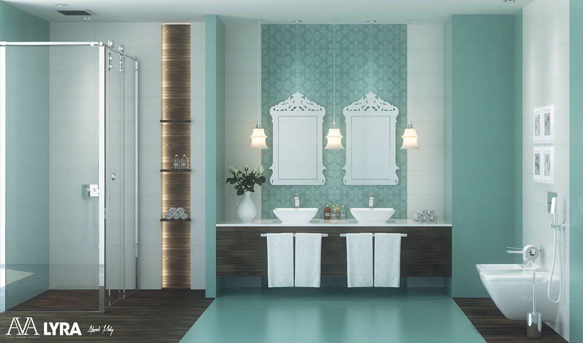 blue modern bathroom design