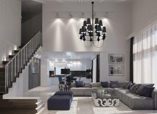 white luxury living room