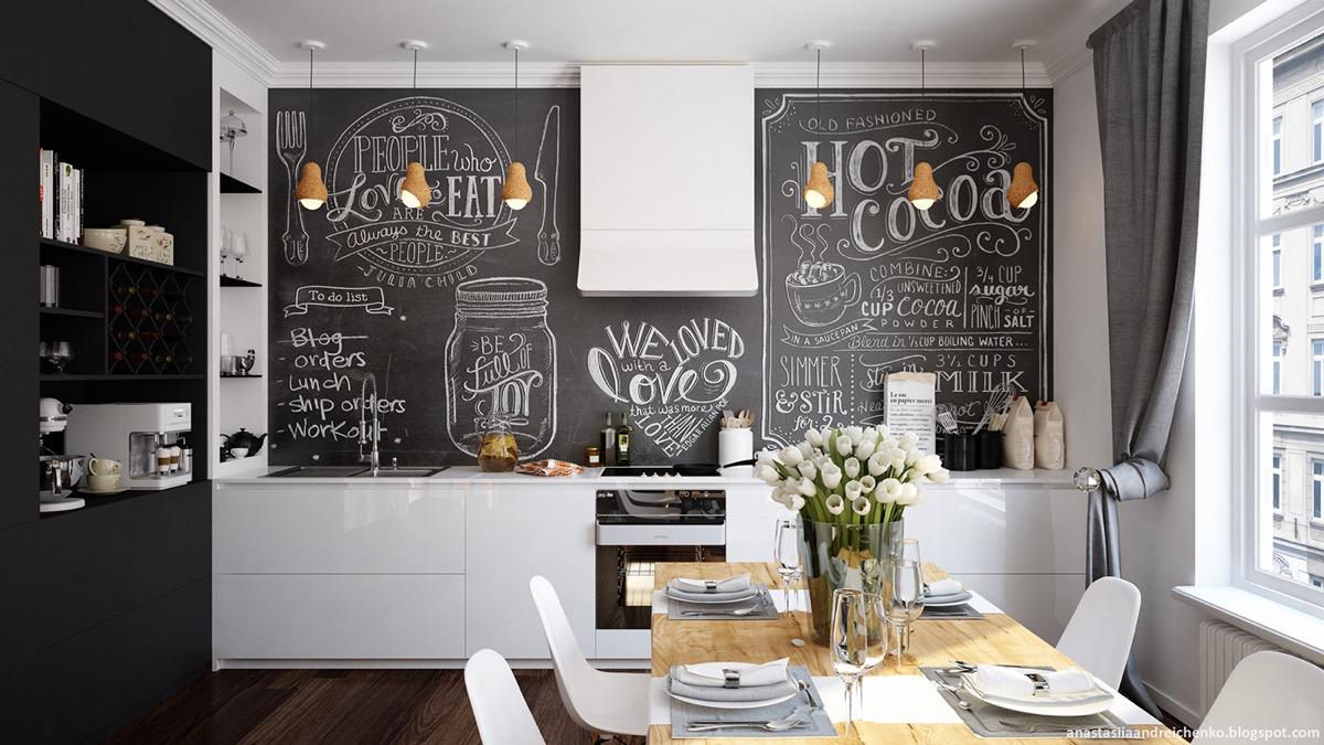 black board backsplash kitchen