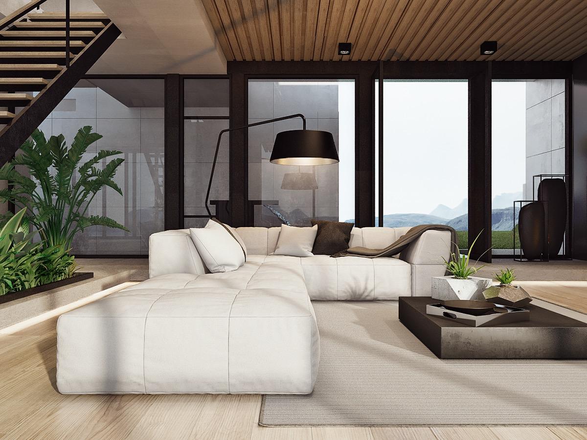 modern white living room decor