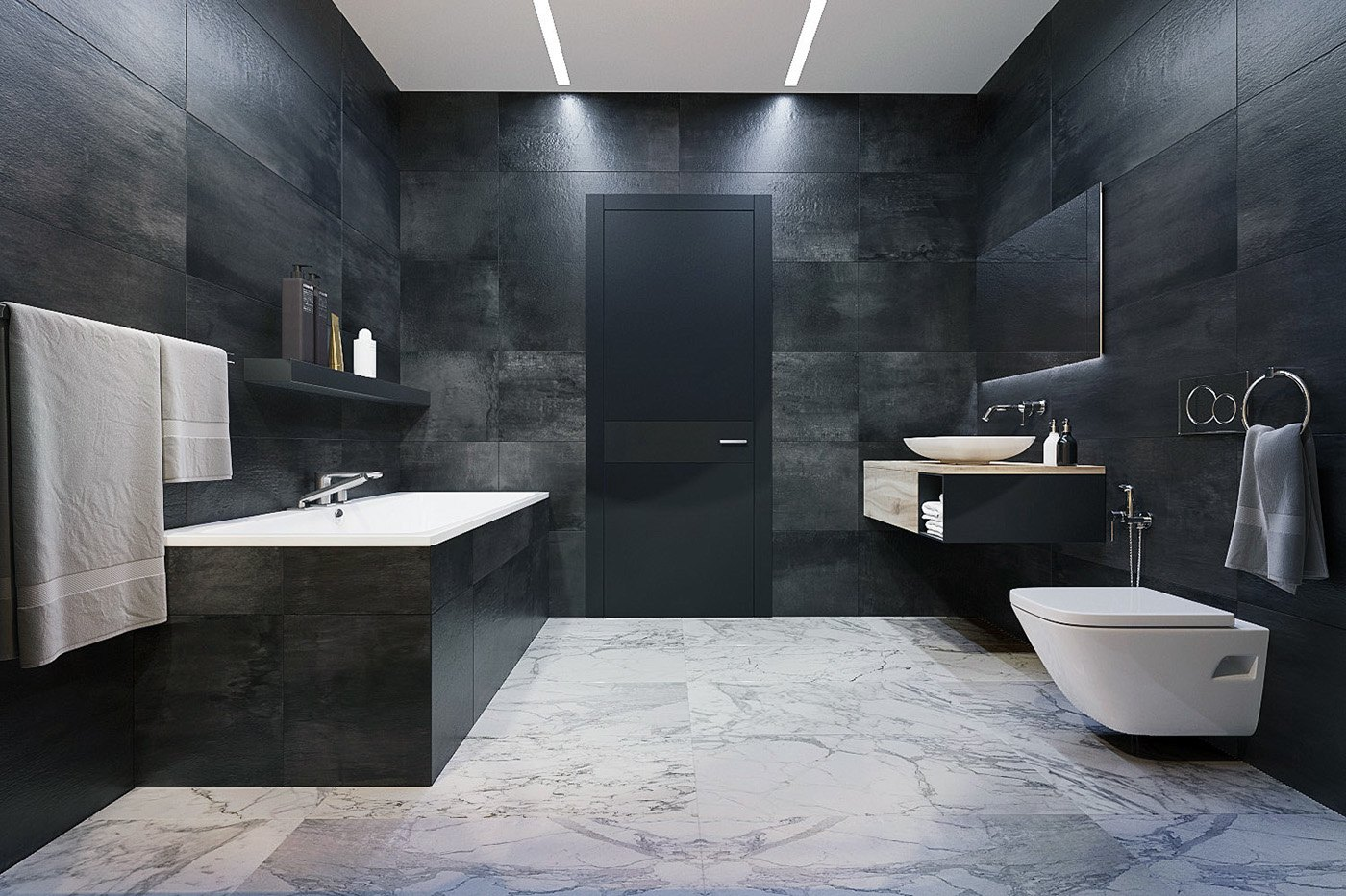 luxury gray and white bathroom