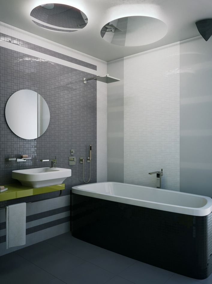 trendy small bathroom