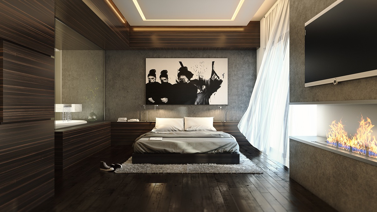trendy wooden bedroom