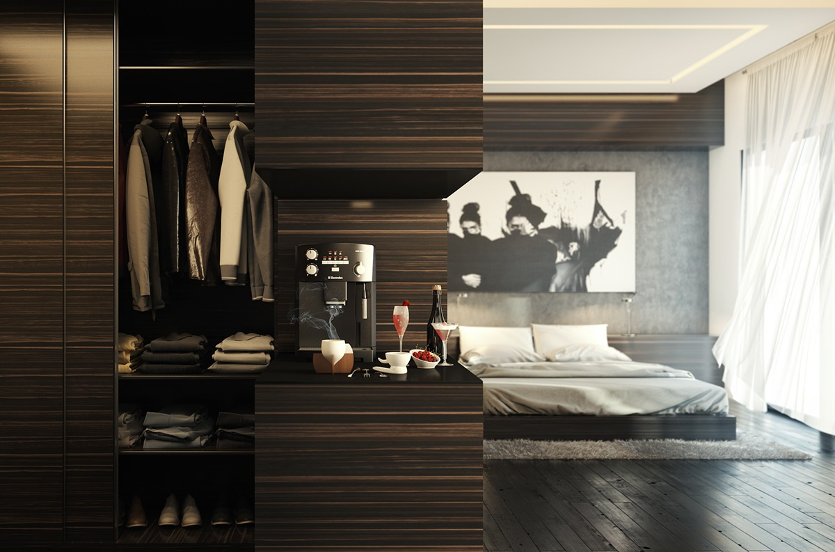 modern wooden bedroom decor