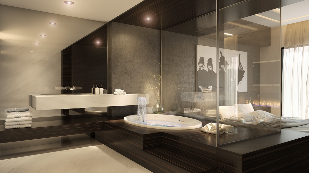 luxury bathroom and bedroom