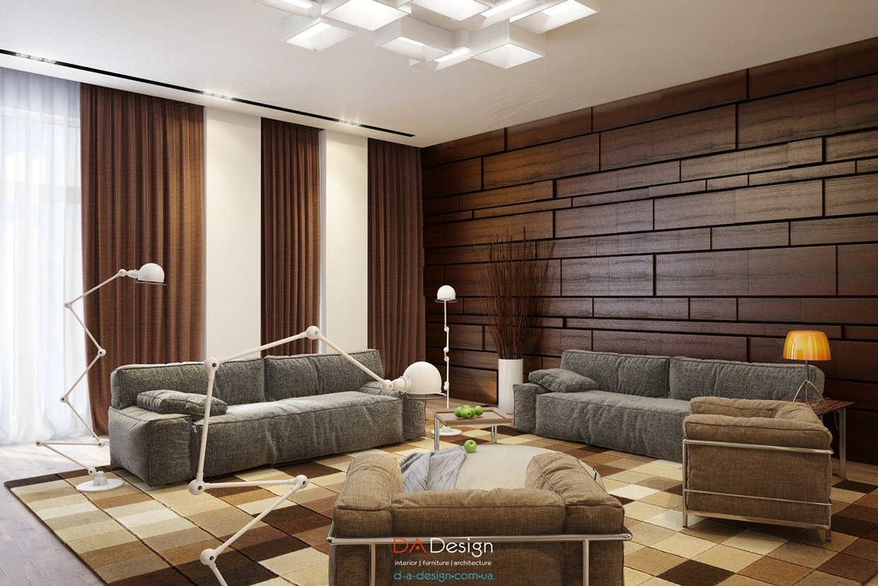 modern wooden living room