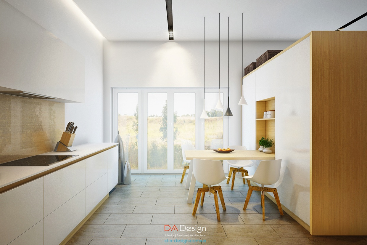 modern white kitchen set deisgn
