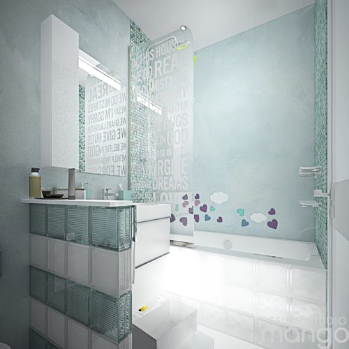 simple small blue bathroom