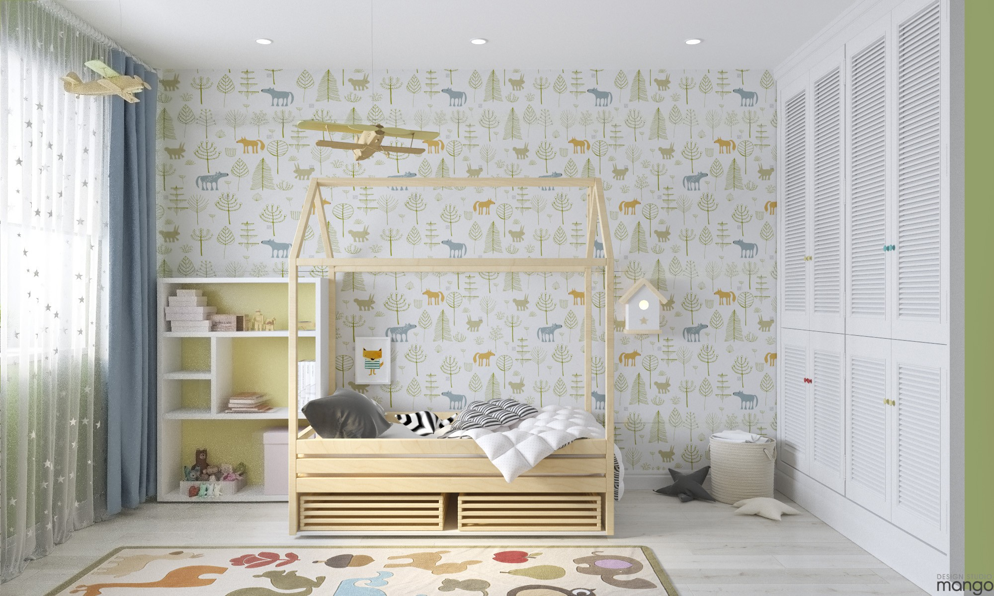 white kids room decor
