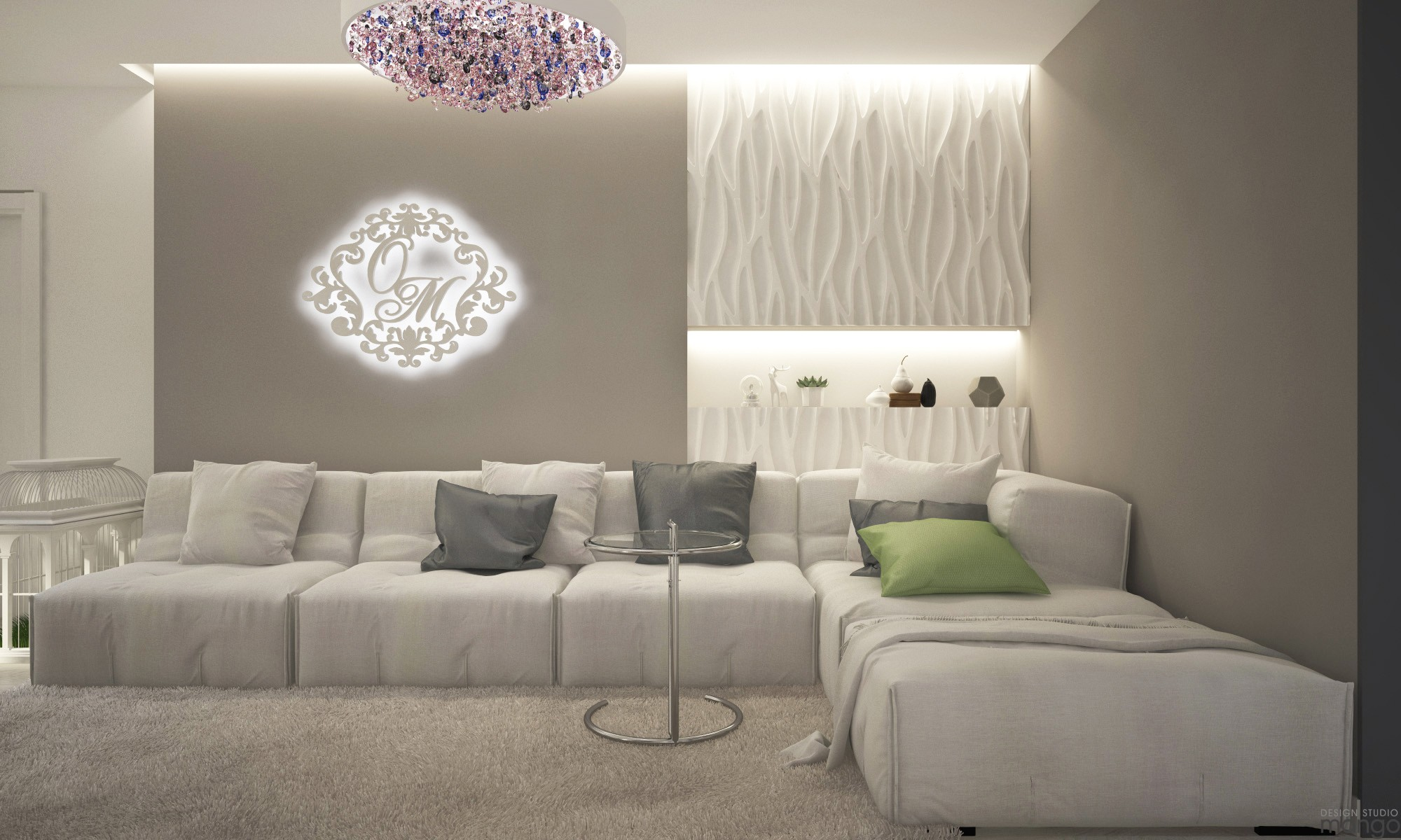 white luxury living room