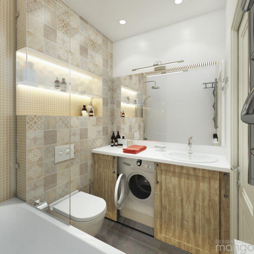 trendy bathroom backsplash design