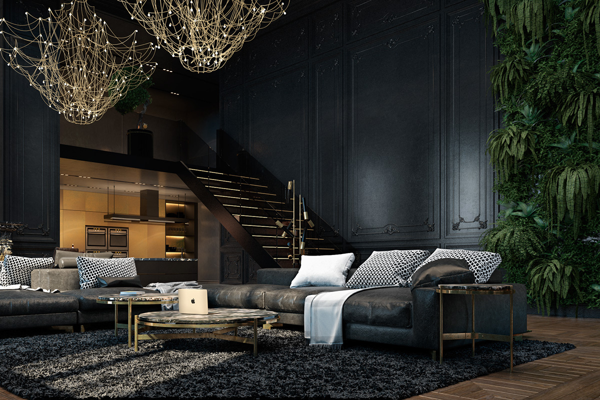 luxury dark living room decor