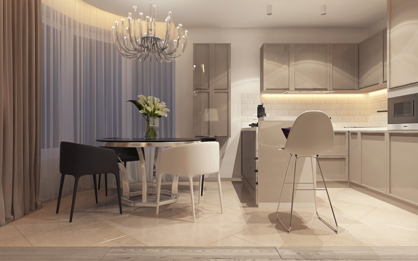Simple apartment design applying with soft color accent for Kitchen set minimalist design