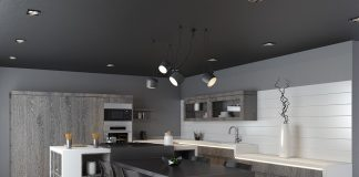 dark kitchen set design