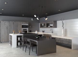 dark kitchen set design