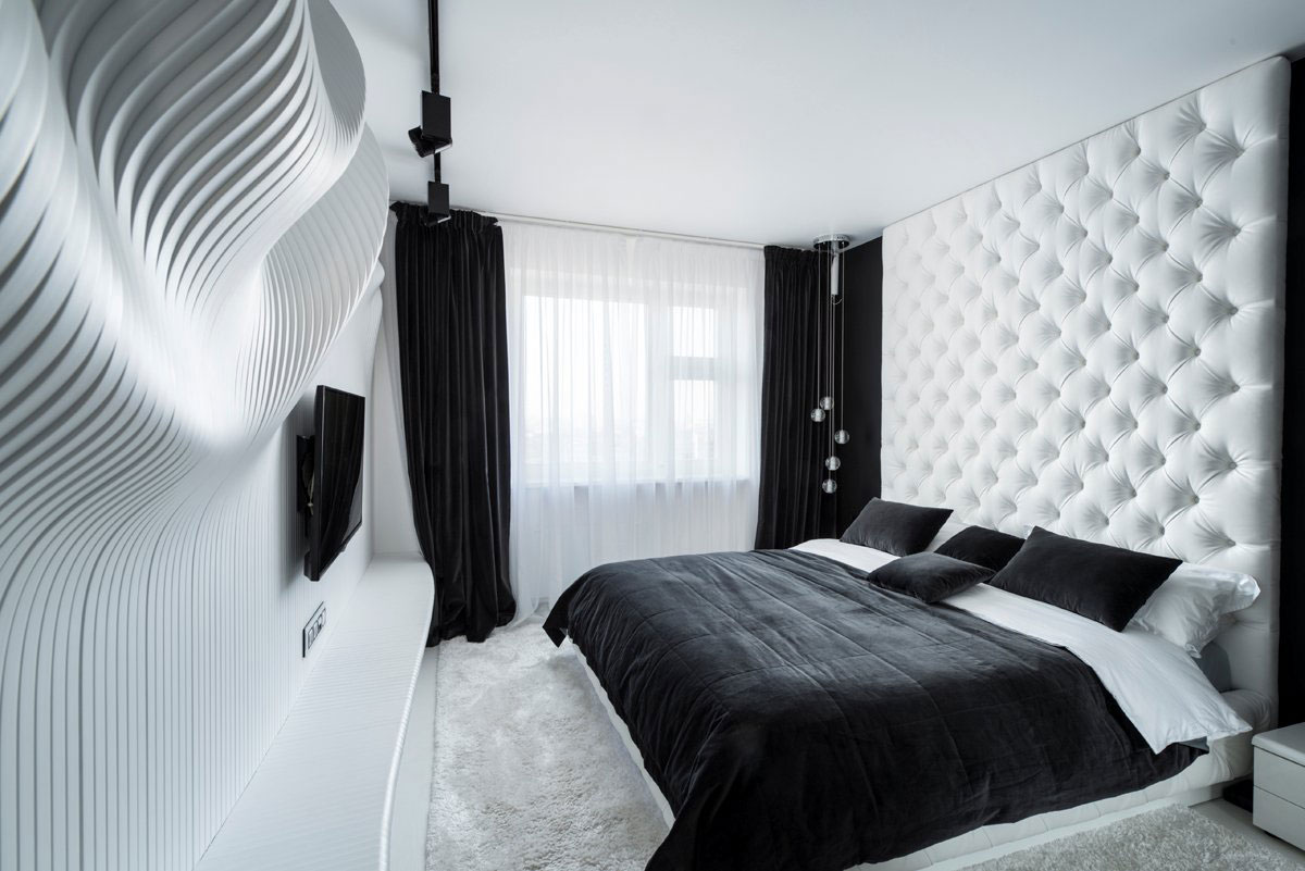 Fascinating bedroom design ideas using white and black color theme decor ideas roohome - Bed kamer ...