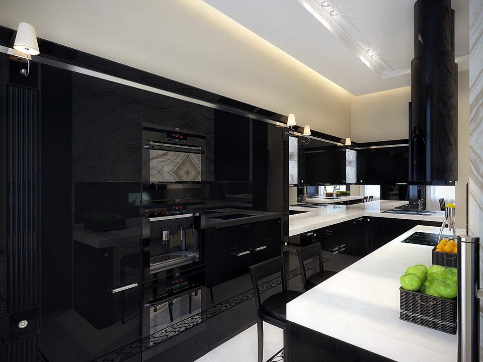 black kitchen set design