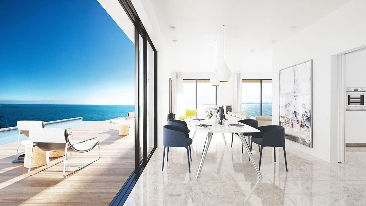 trendy white dining room