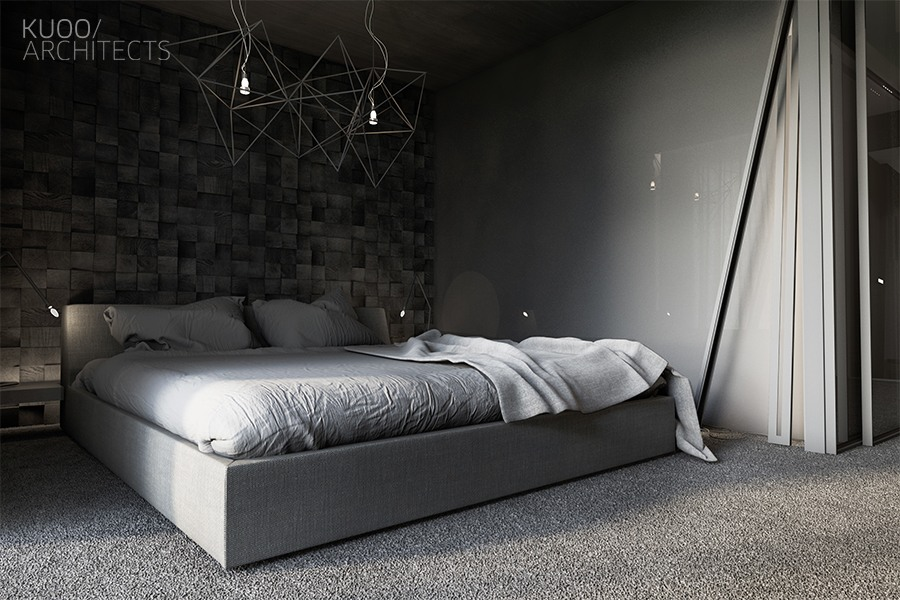 dark gray modern bedroom decor