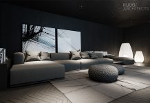 luxury spacious dark living room
