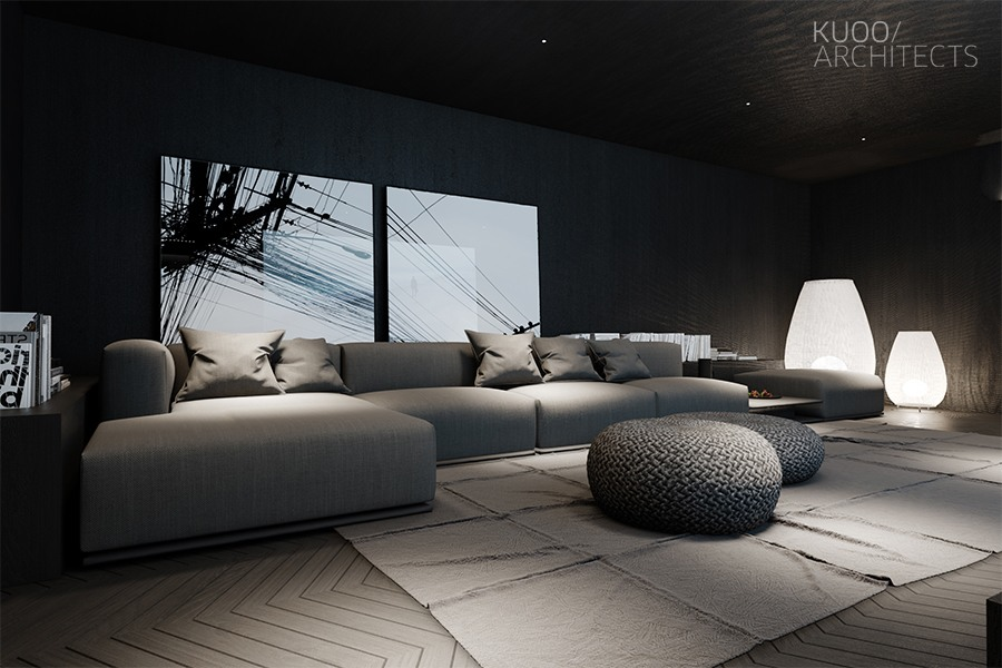 modern spacious dark living room