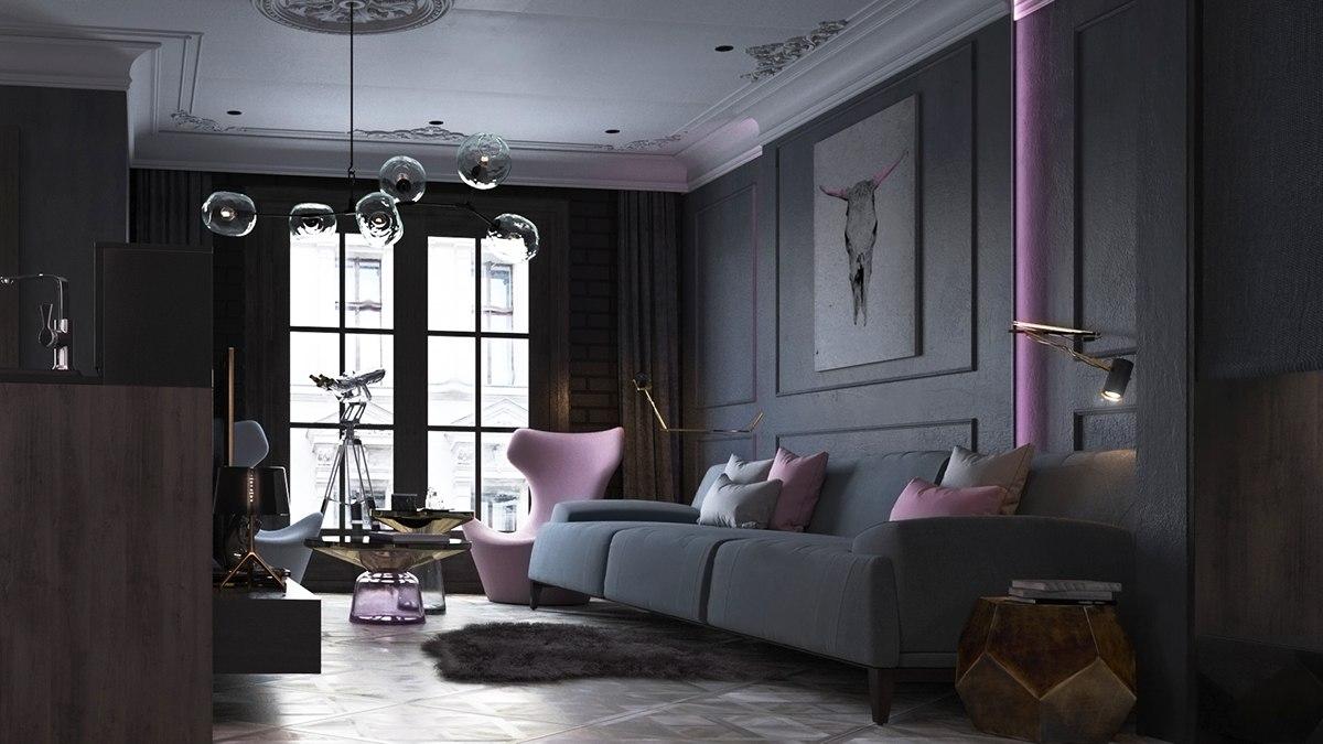 dark modern living room