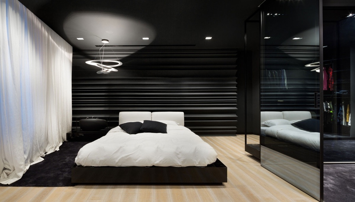 OFDA Gorgeous Black And White Bedroom © Lera Katasonova Design