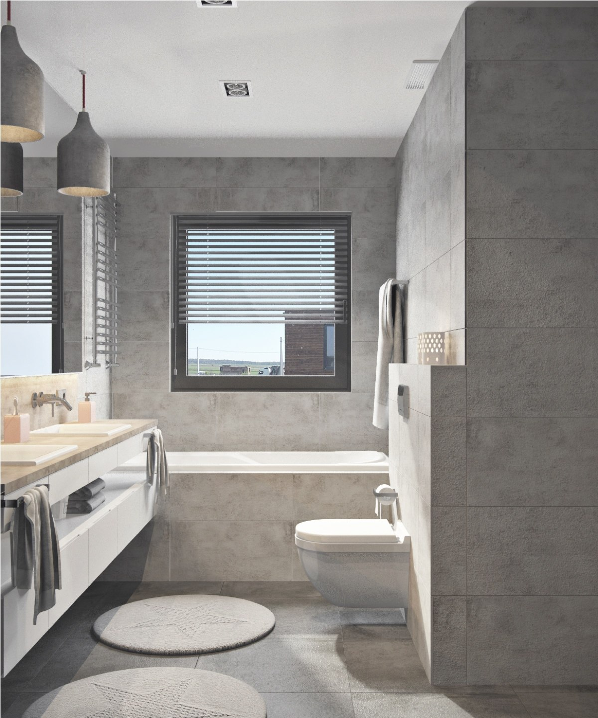 simple small gray bathroom decor