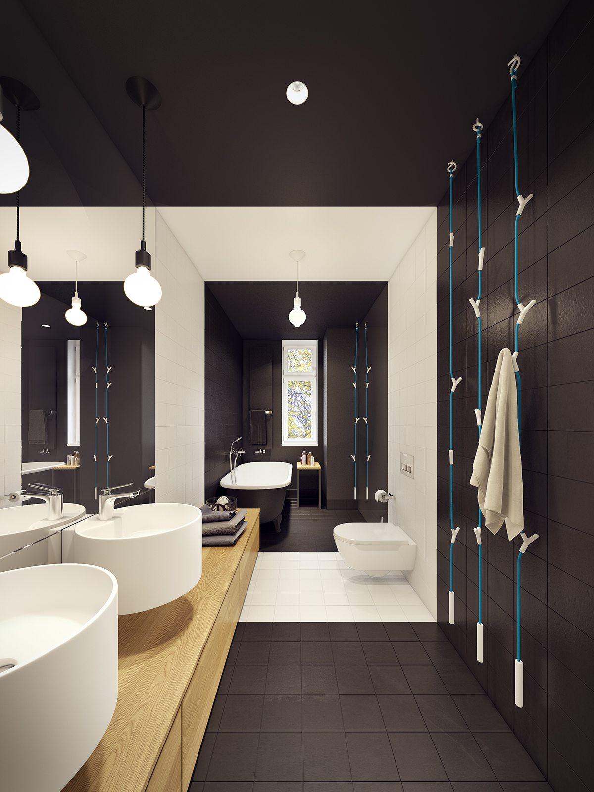 contemporary dark bathroom decor